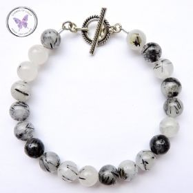 Tourmaline Quartz Healing Bracelet With Silver Toggle Clasp